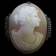 Amazing Art Deco Hand Carved Shell Cameo Sterling Silver Marcasite 1920s Vintage Brooch Pin