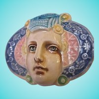 Fabulous Rare David Keyes Tacoma Ceramic Art Nouveau Style  Woman Vintage Brooch Pin