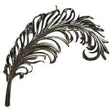 Gorgeous Large Feather Plume Silver plate Vintage Brooch Pin