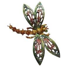 ART Signed Enamel Austrian Crystal Rhinestone Dragonfly Vintage Brooch Pin
