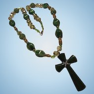 Jadeite Peking Glass Faceted AB Crystals Green Cross Vintage Necklace