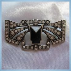 Classic Art Deco Style Sterling Silver Sparkling Austrian Crystals Vintage Brooch Pin