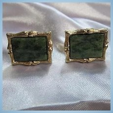 Wonderful Jade Bamboo Gold Plated Signed Vintage Cufflinks