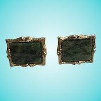 Wonderful Jade Bamboo Gold Plated Signed Vintage Cufflinks