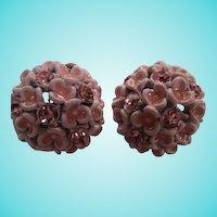 Gorgeous Pink Enamel Flower Rhinestone Vintage Clip Earrings