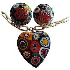 Gorgeous Older Venetian Millefiori Hand Blown Glass Vintage Heart Pendant Necklace Earrings Set