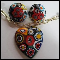 Gorgeous Venetian Millefiori Hand Blown Glass Heart Pendant Necklace Earrings Set