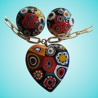 Gorgeous Venetian Millefiori Hand Blown Glass Heart Pendant Necklace Earrings Set