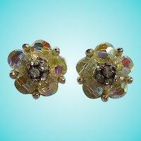 Gorgeous Signed Lisner AB Crystal Rhinestone Vintage Clip Earrings