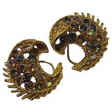 Coro Crescent Moon AB Crystal French Clip Earrings