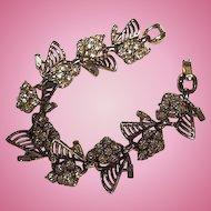 Stunning Art Deco Sparkling Crystal Rhinestones Detailed Quality Vintage Bracelet