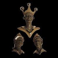 Fabulous Rare Enamel Blackamoor Set Brooch Clip Earrings