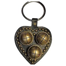 Vintage Shabby Chic Farm Horse Harness Brass Bells on Leather Heart