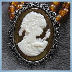 Striking Cameo Silver tone Frame Amber and Black Lucite Double Strand Vintage Necklace