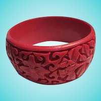 Fabulous Wide Carved Red Cinnabar Flowers Bangle Bracelet
