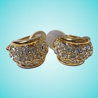 Swarovski Signed Gold Plated Small Hoop Vintage Clip Earrings