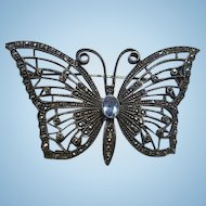 Gorgeous Sterling Silver Marcasite Blue Topaz Butterfly Signed Vintage Brooch Pin