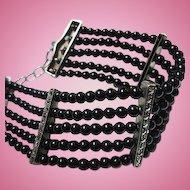 Fabulous Five Strand Onyx Marcasite Sterling Silver Vintage Wide Bracelet