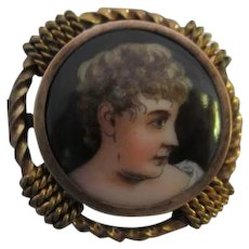 Victorian Hand Painted Miniature Portrait Antique Brooch Pin