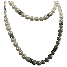 Signed Carolee 12mm fx Pearls Double Crystal Rhinestone Stanchions 35 inch Opera Length Vintage Necklace