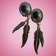 Signed Southwestern Sterling Silver Lapis Dangling Feathers Vintage Pierced Earrings.