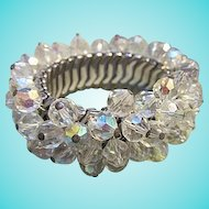 Dazzling Wide Fully Faceted AB Crystals Expandable Vintage Cha Cha Bracelet