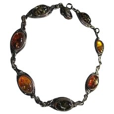 Baltic Amber Sterling Silver Three Colors Bracelet 925