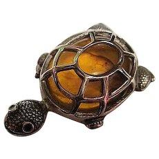 Amber Sterling Silver Turtle Figural Vintage Brooch Pin