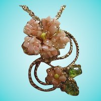 Angel Skin Coral Peridot Flower Figural on Fancy Link Long Chain Vintage Pendant Necklace
