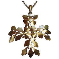 Fabulous Signed Trifari Modernist Matte Gold Plated Abstract Design Vintage Statement Pendant Necklace