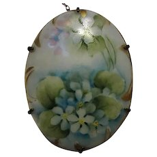 Gorgeous Victorian Hand Painted Blue Bells or Forget Me Nots Oval Porcelain C Clasp Safety Chain Pin Antique Brooch Pin