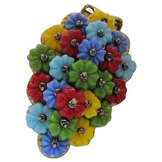Frank Hess Fruit Salad Glass Flowers Unsigned Miriam Haskell Hand Wired Vintage Dress Clip