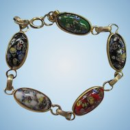 Beautiful Multi color Art Glass Millefiori  Oval Venetian Catamore Art Deco Style 1940s Gold plate Vintage Bracelet