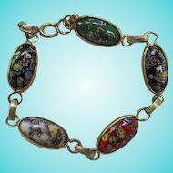 Beautiful Multi color Art Glass Millefiori  Oval Venetian Catamore Art Deco Style 1940s Gold plate Vintage Bracelet