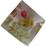 Reverse Carved Painted Flowers Lucite Square Beveled Shadow Box Vintage Brooch Pin