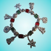 Red Green Faceted Glass Silver plated Ornaments Christmas Charm Bracelet