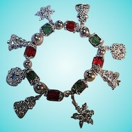 Red Green Faceted Glass Silver plated Ornaments Vintage Christmas Charm Bracelet
