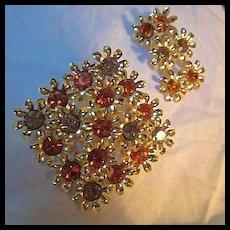 Topaz Amber Austrian Crystal Flower Brooch Earrings Set