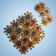 Beautiful Topaz Amber Austrian Crystals Flowers Pin Matching Hanging Earrings Vintage Brooch Pin Earrings Set