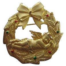 Signed JJ Jonette Sweet Angel Naps  Christmas Wreath Vintage Brooch Pin