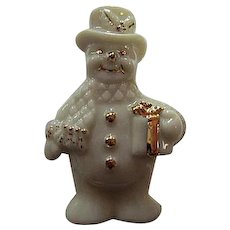 Signed Lenox Adorable Snowman with Present Original Box Vintage Holiday Brooch Pin