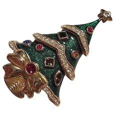 KJL Kenneth J Lane Book Piece Jeweled Guilloche Enamel Christmas Tree Signed Franklin Mint Vintage Brooch Pin