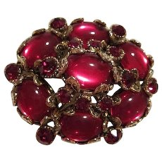 Rare Magnificent Signed Hollycraft Red Ruby Cabochon Groipox Regal Statement Vintage Brooch Pin Pendant