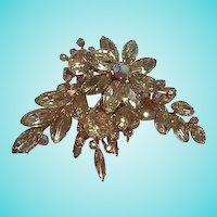 Amazing Beau Jewels AB Clear Swarovski Crystal Huge Swedge Vintage Brooch Pin