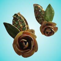 Gorgeous Hobe Signed Enamel Flower Crystal Rhinestone Vintage Clip Earrings
