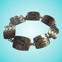Signed Jorgen Jensen Denmark Pewter Figural Link Vintage Modernist Bracelet
