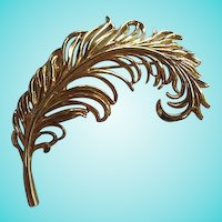 Gorgeous Large Feather Plume Gold plate Statement Brooch