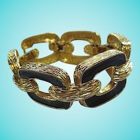 KJL Kenneth J Lane MINT Wide Black Enamel Gold Plated Statement Bracelet
