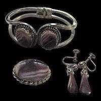 Scottish Banded Purple Amethyst Agate Bracelet Sterling Silver Brooch Pendant Earrings Set