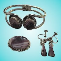 Scottish Banded Purple Amethyst Agate Bracelet Sterling Silver Brooch Pendant Earrings Set